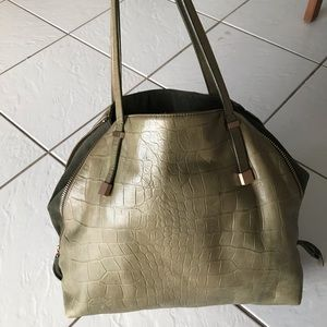 JOIE Leather Side Zip Tote, Olive